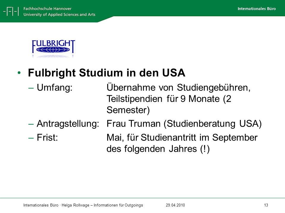 Fulbright Studium in den USA