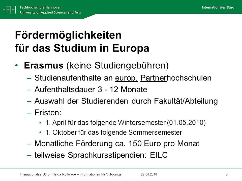 Fördermöglichkeiten für das Studium in Europa