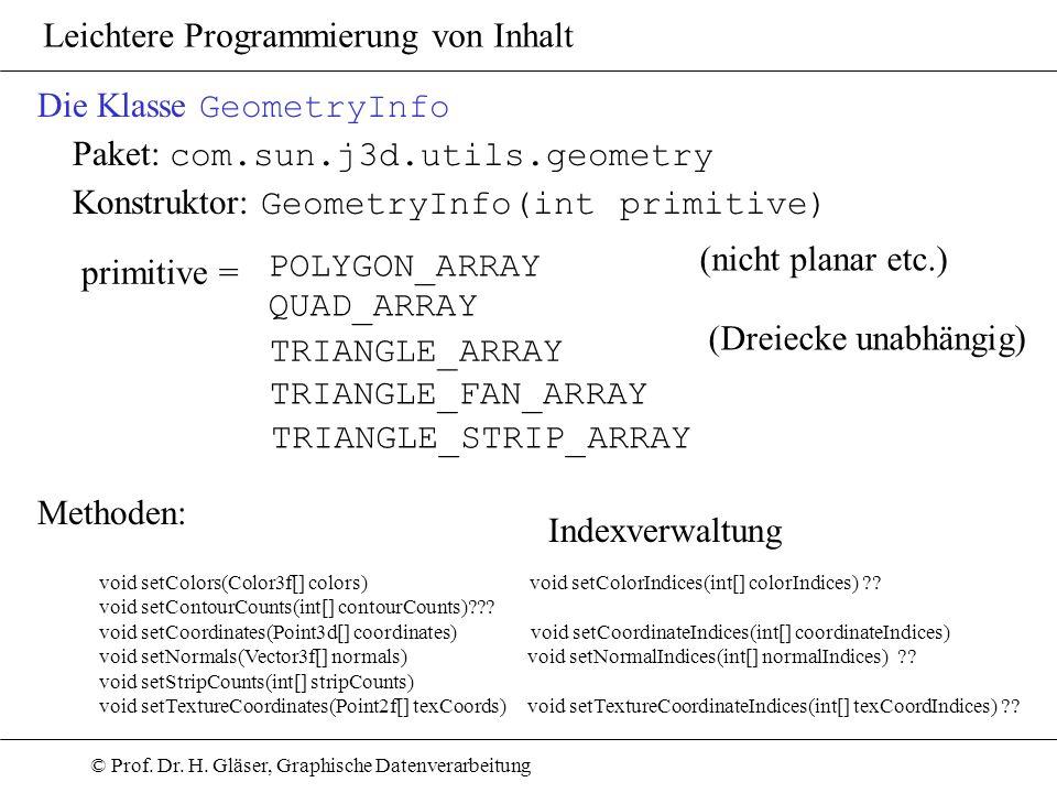 Die Klasse GeometryInfo Paket: com.sun.j3d.utils.geometry