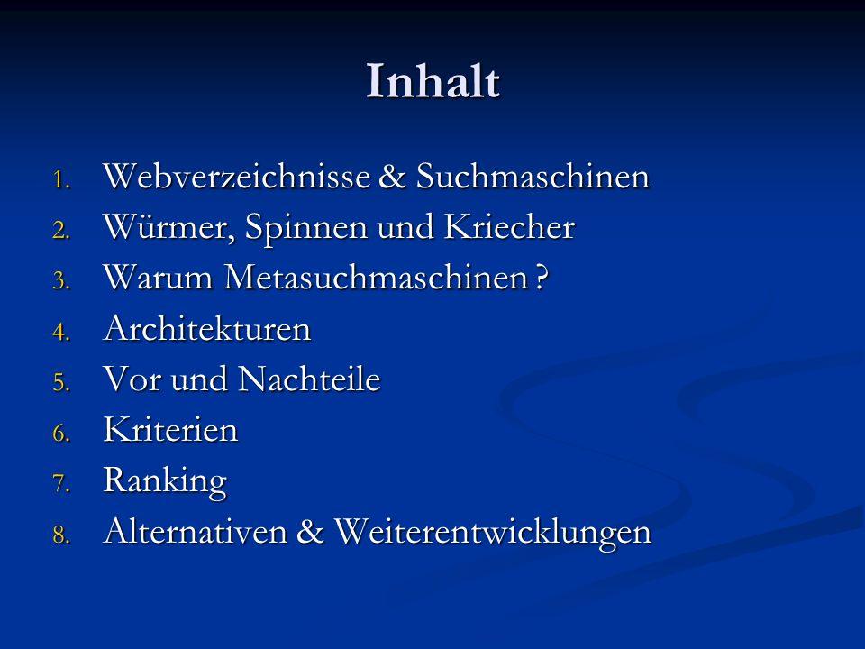 Inhalt Webverzeichnisse & Suchmaschinen Würmer, Spinnen und Kriecher