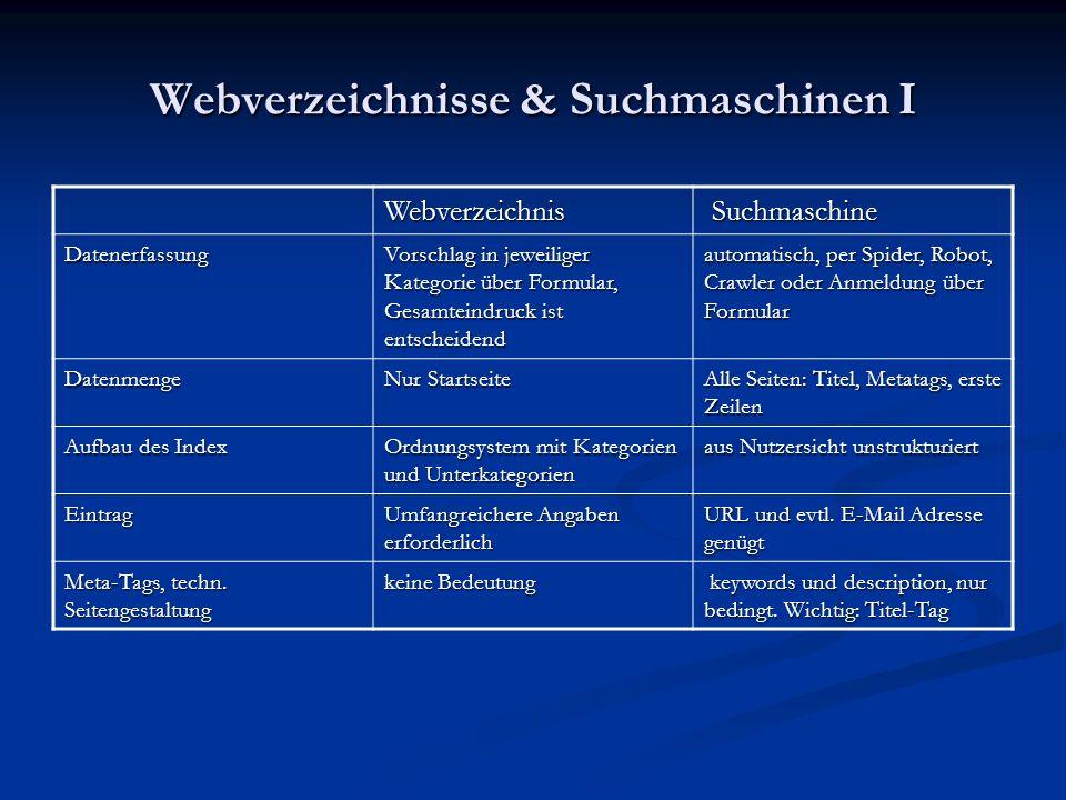 Webverzeichnisse & Suchmaschinen I