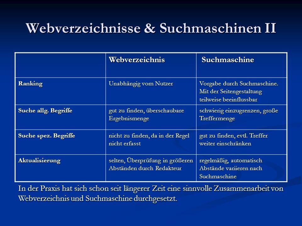 Webverzeichnisse & Suchmaschinen II