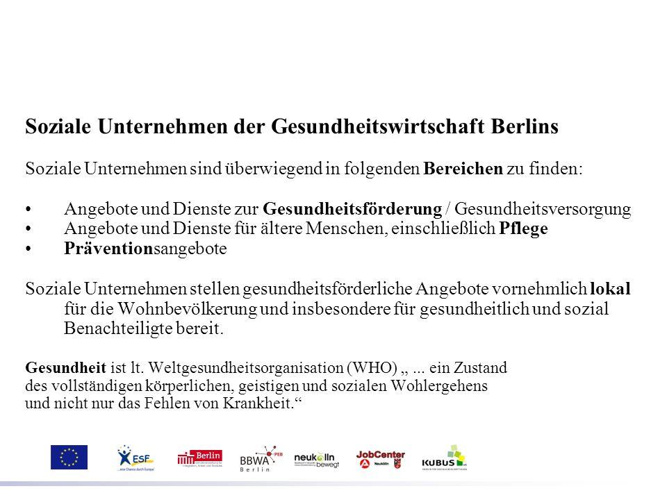 Soziale Unternehmen der Gesundheitswirtschaft Berlins