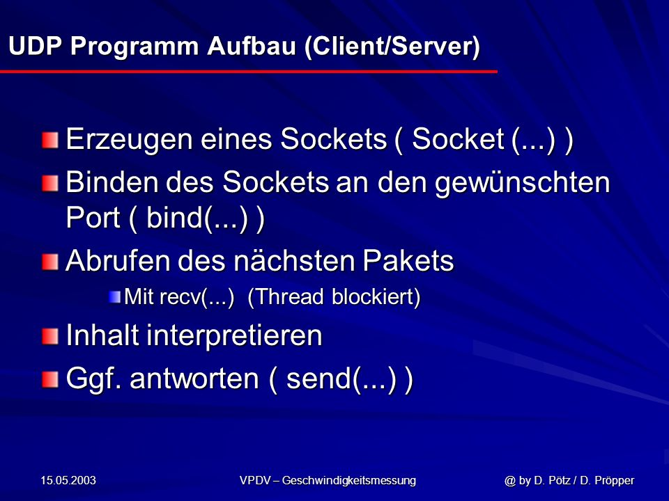 UDP Programm Aufbau (Client/Server)