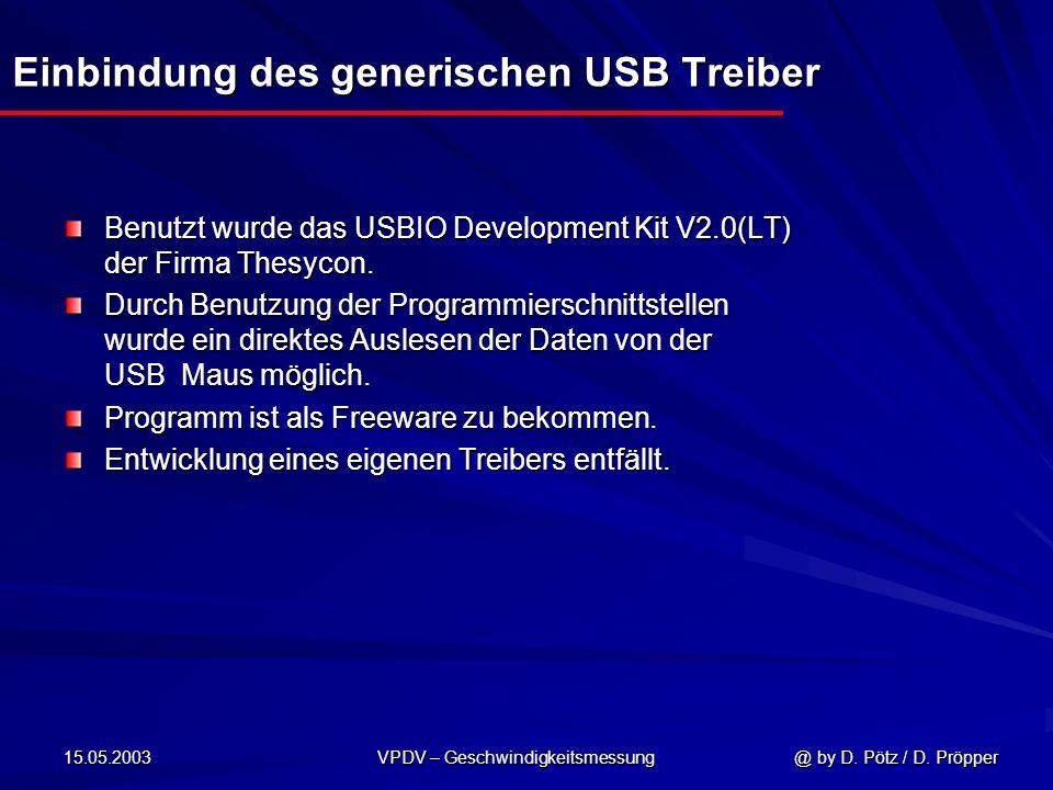 Einbindung des generischen USB Treiber