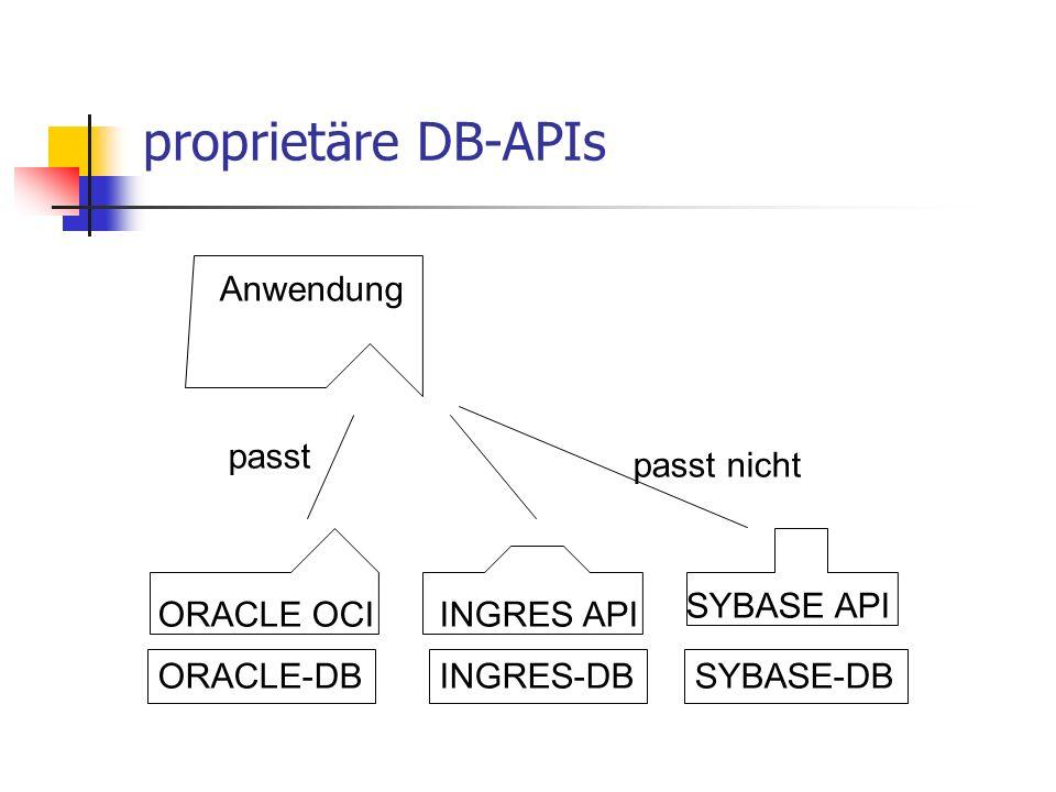proprietäre DB-APIs Anwendung passt passt nicht SYBASE API ORACLE OCI