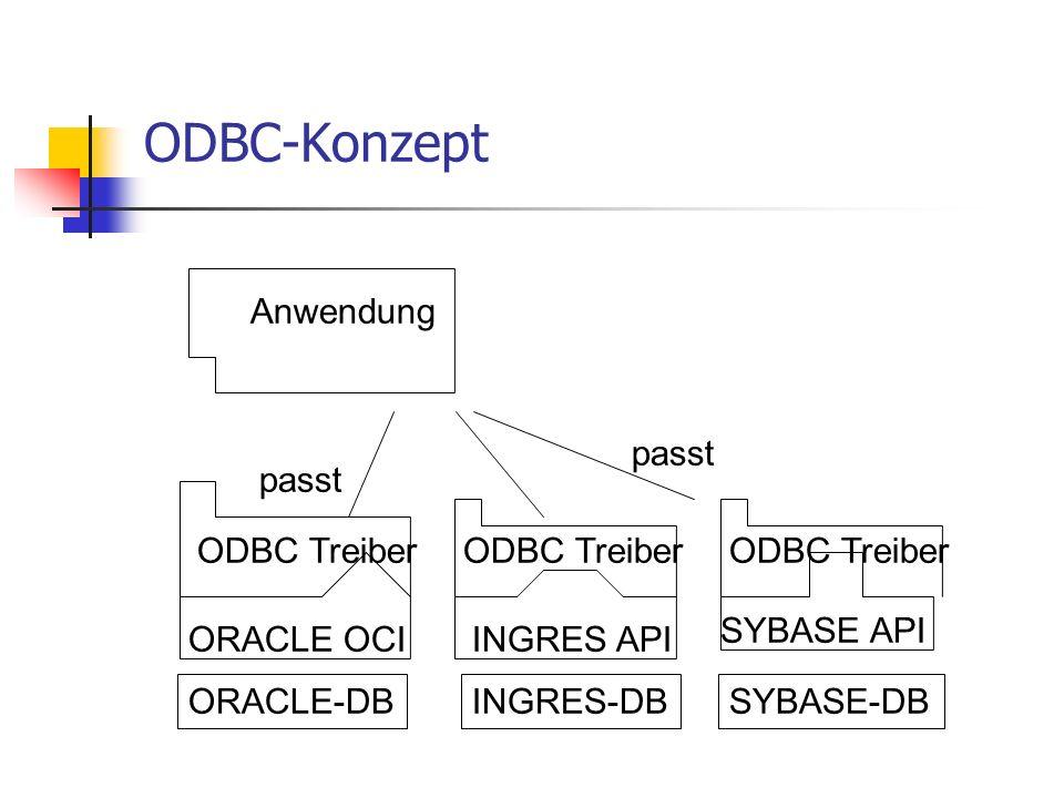 ODBC-Konzept Anwendung passt passt ODBC Treiber ODBC Treiber