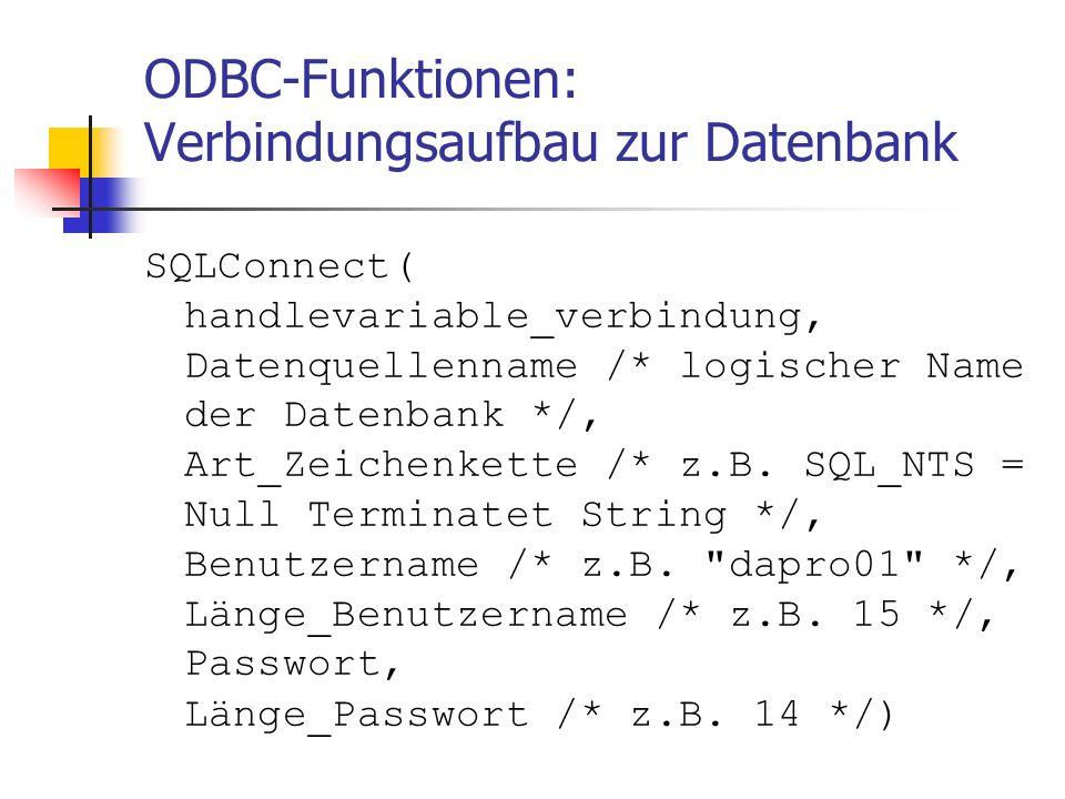 ODBC-Funktionen: Verbindungsaufbau zur Datenbank