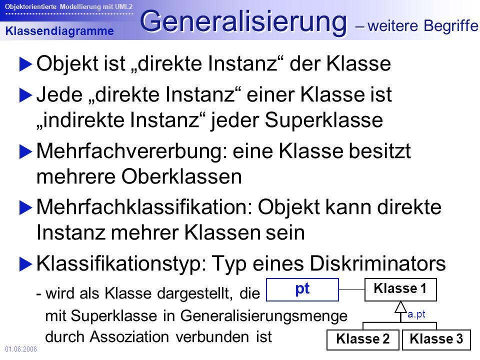 Generalisierung – weitere Begriffe