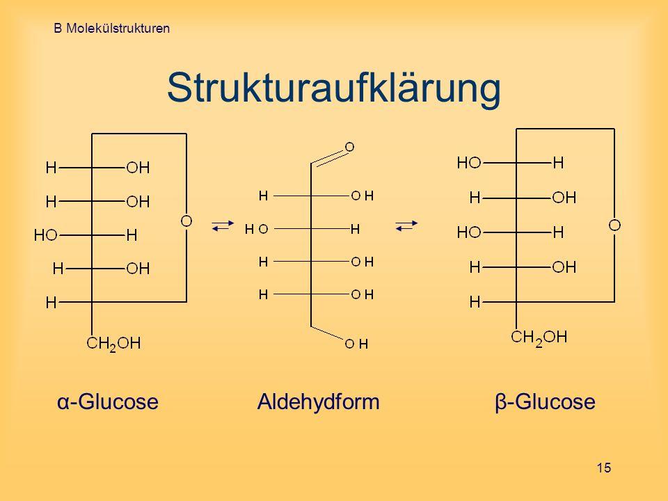 B Molekülstrukturen Strukturaufklärung α-Glucose Aldehydform β-Glucose