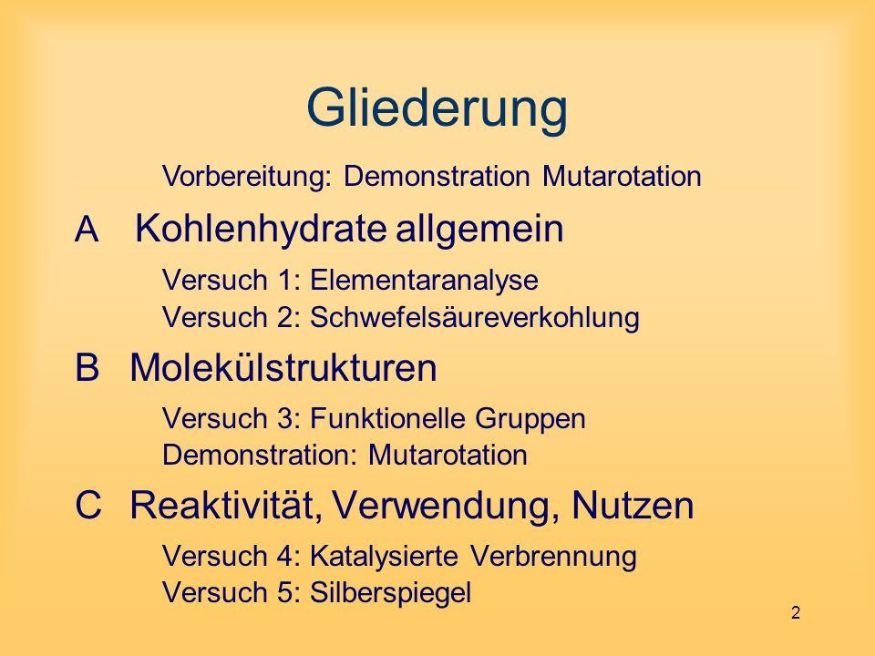 Gliederung Vorbereitung: Demonstration Mutarotation. Kohlenhydrate allgemein Versuch 1: Elementaranalyse Versuch 2: Schwefelsäureverkohlung.