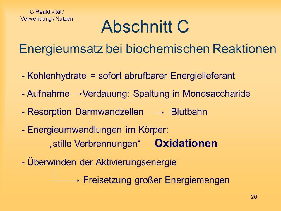 Abschnitt C Energieumsatz bei biochemischen Reaktionen