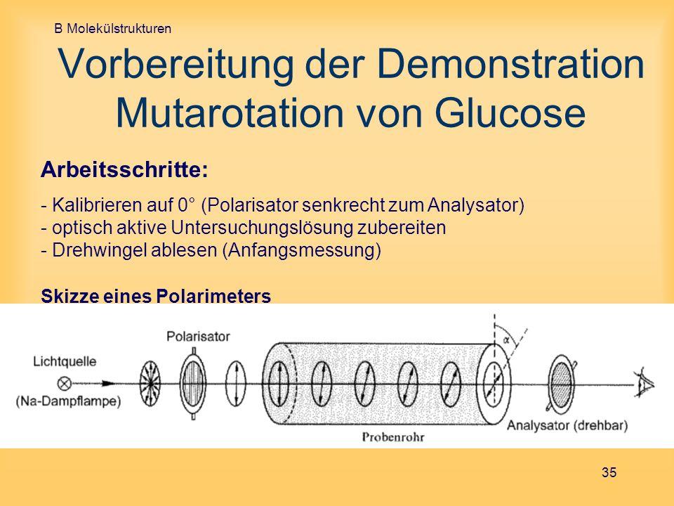 Vorbereitung der Demonstration Mutarotation von Glucose