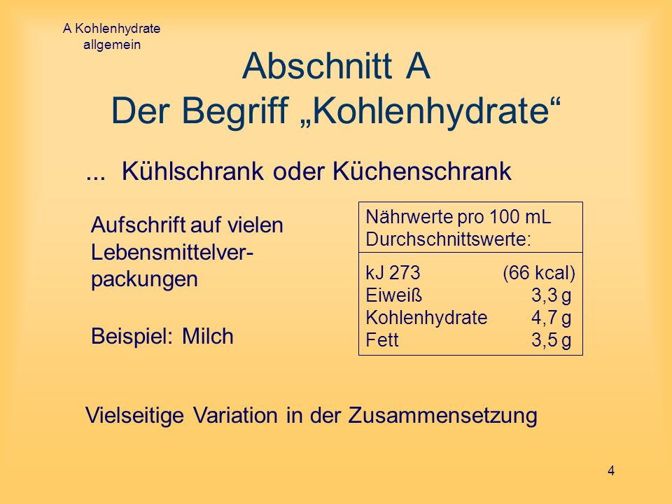 "Abschnitt A Der Begriff ""Kohlenhydrate"