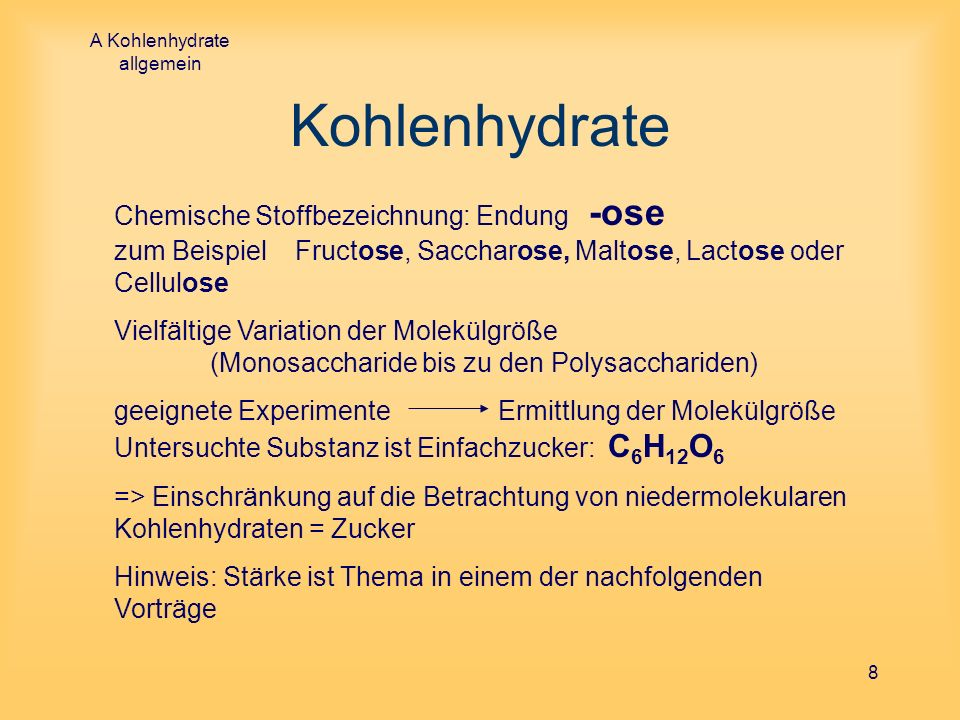 A Kohlenhydrate allgemein
