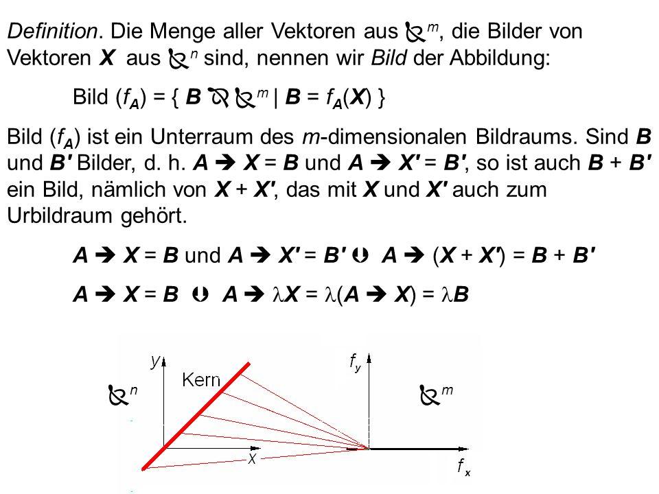 Definition. Die Menge aller Vektoren aus m, die Bilder von Vektoren X aus n sind, nennen wir Bild der Abbildung: