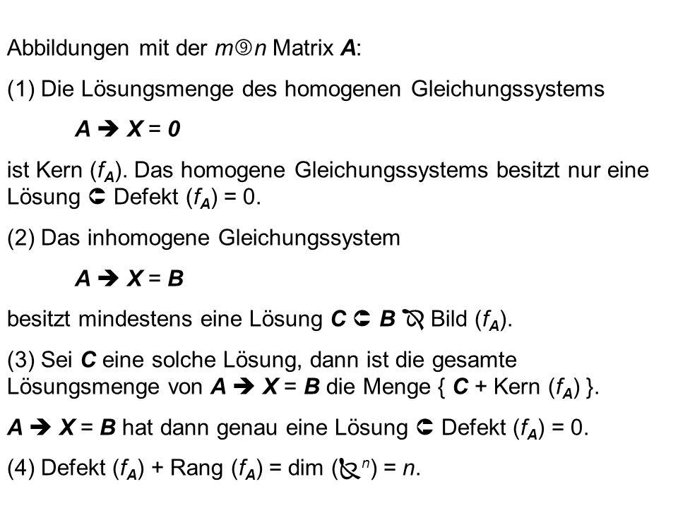 Abbildungen mit der mn Matrix A: