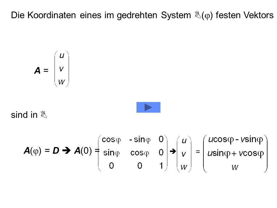 Die Koordinaten eines im gedrehten System (j) festen Vektors
