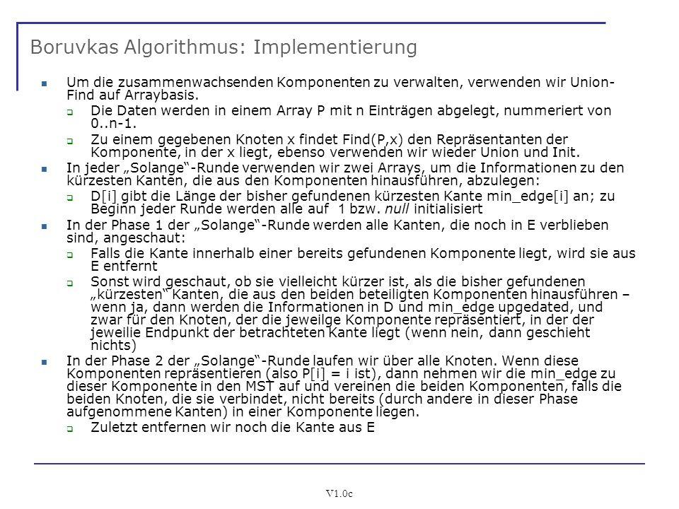 Boruvkas Algorithmus: Implementierung