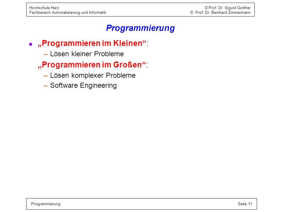 """Programmierung """"Programmieren im Kleinen : """"Programmieren im Großen :"""