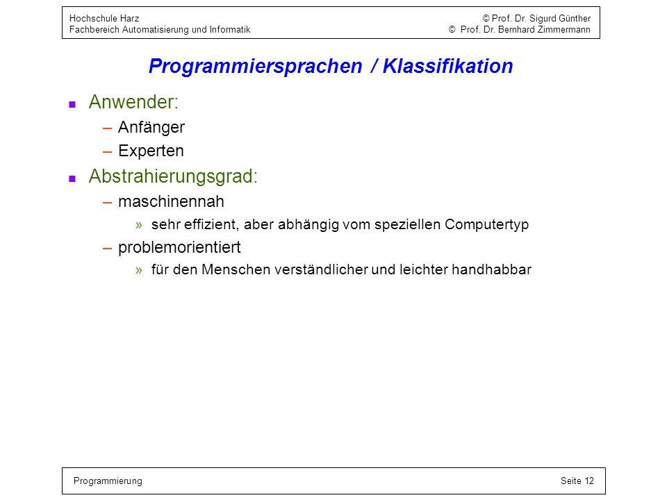 Programmiersprachen / Klassifikation