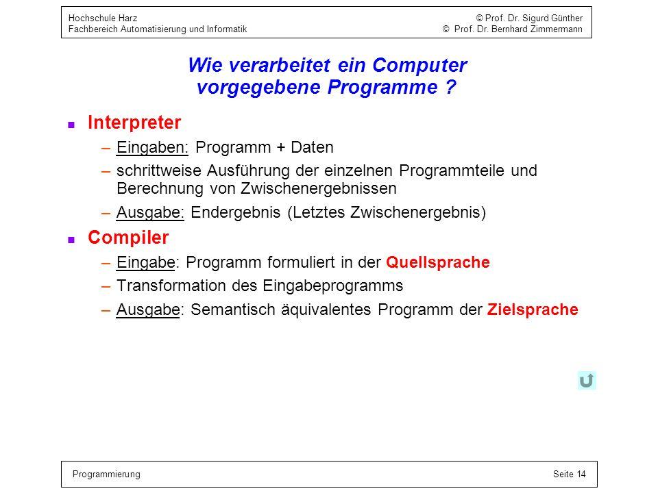 Wie verarbeitet ein Computer vorgegebene Programme