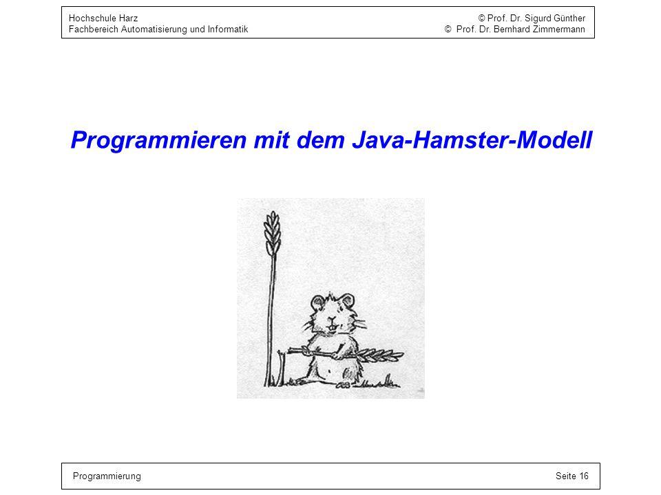 Programmieren mit dem Java-Hamster-Modell