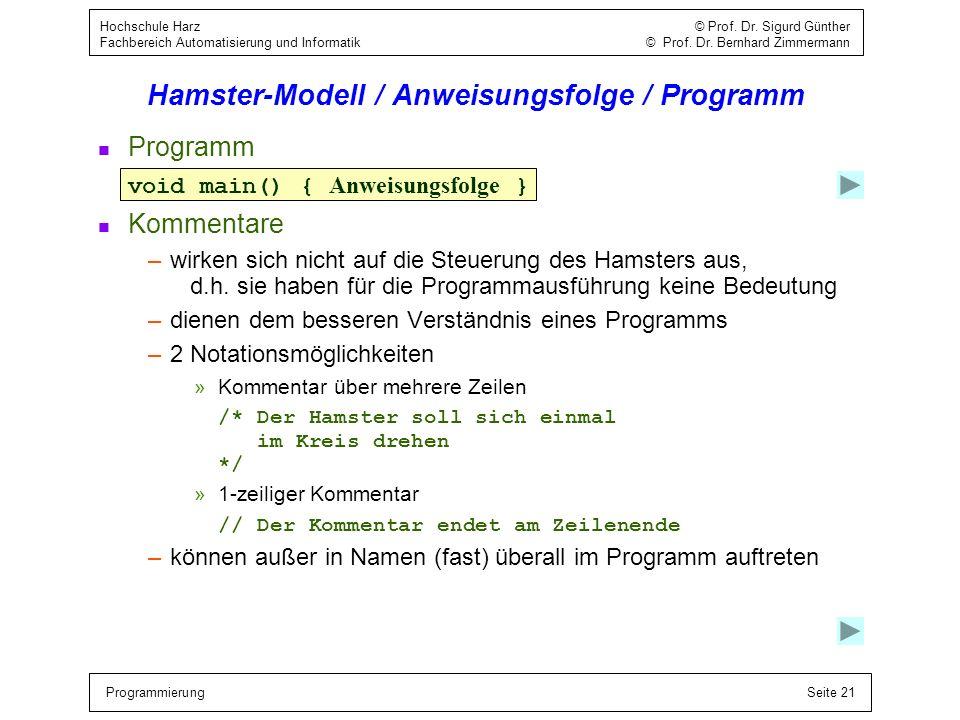 Hamster-Modell / Anweisungsfolge / Programm