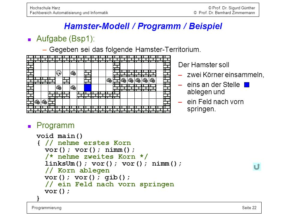 Hamster-Modell / Programm / Beispiel