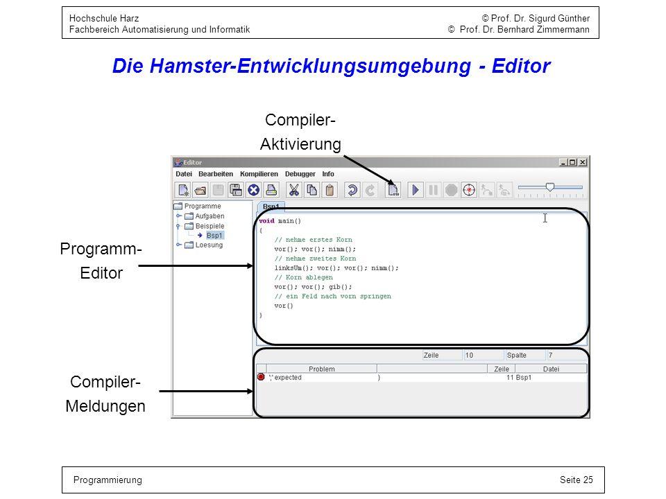Die Hamster-Entwicklungsumgebung - Editor