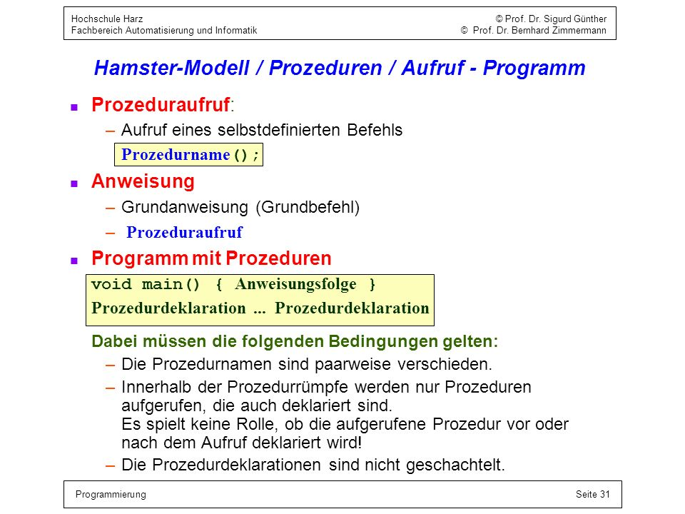 Hamster-Modell / Prozeduren / Aufruf - Programm