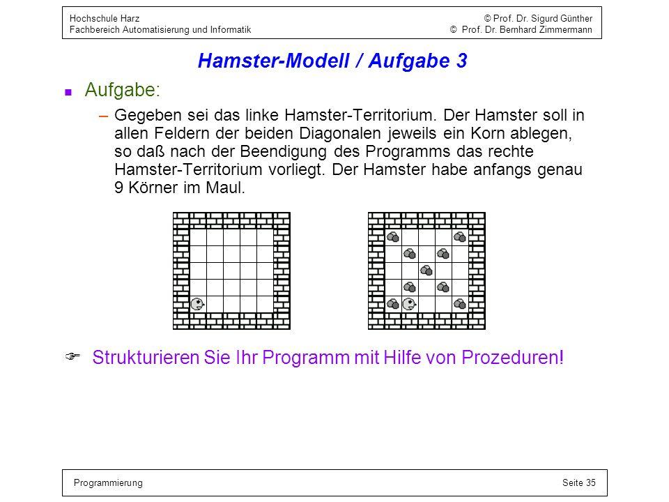 Hamster-Modell / Aufgabe 3