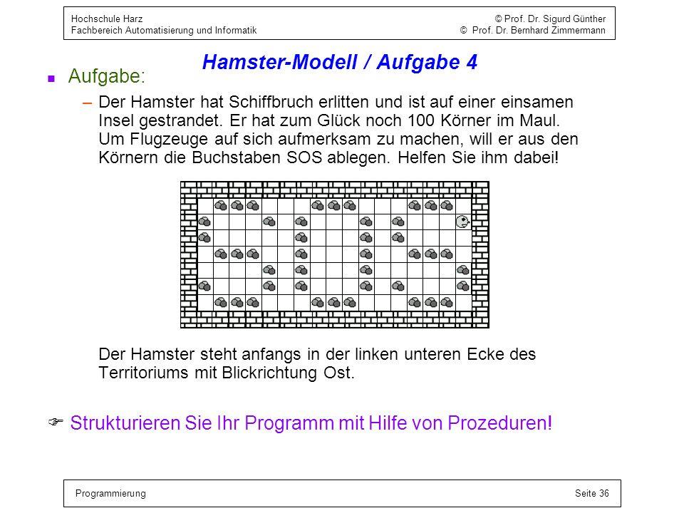 Hamster-Modell / Aufgabe 4