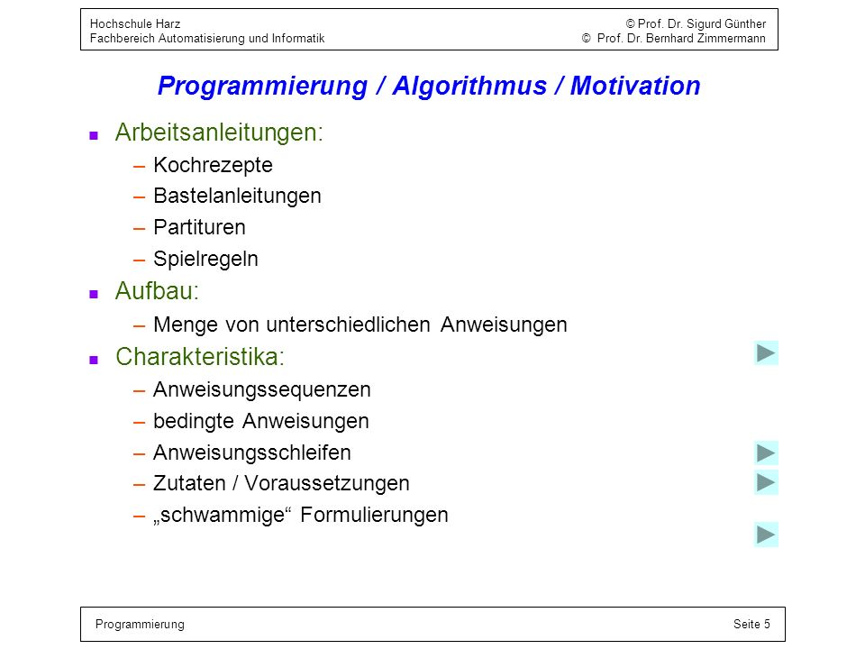 Programmierung / Algorithmus / Motivation