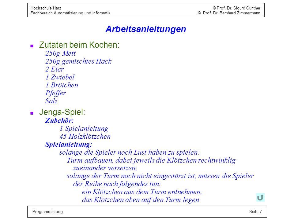 Arbeitsanleitungen Zutaten beim Kochen: Jenga-Spiel: 250g Mett