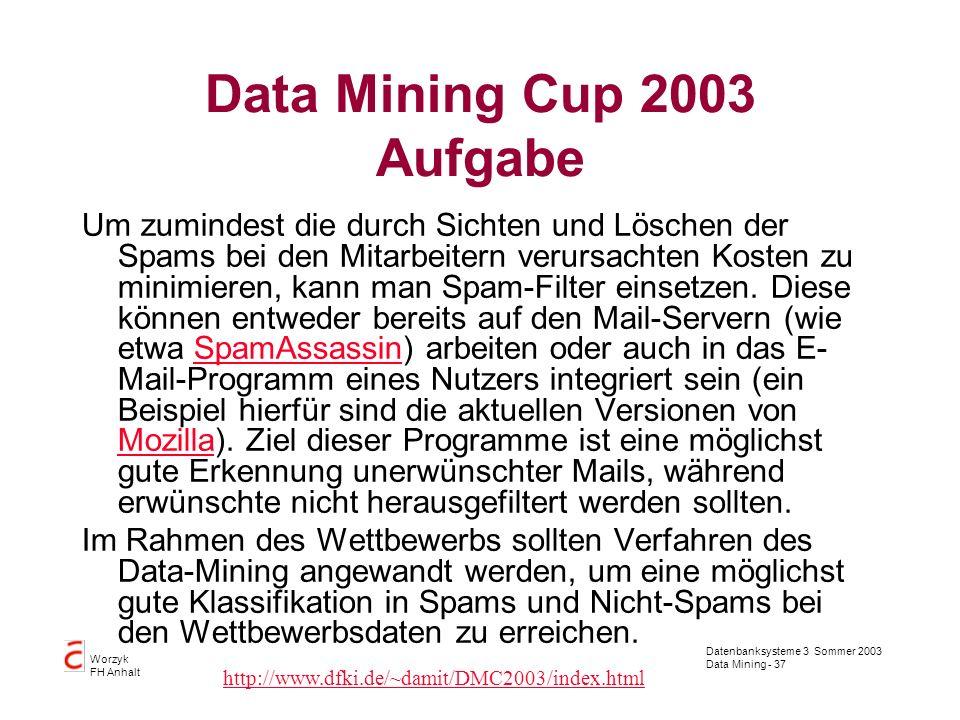 Data Mining Cup 2003 Aufgabe