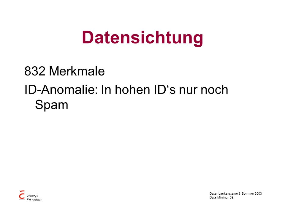 Datensichtung 832 Merkmale ID-Anomalie: In hohen ID's nur noch Spam