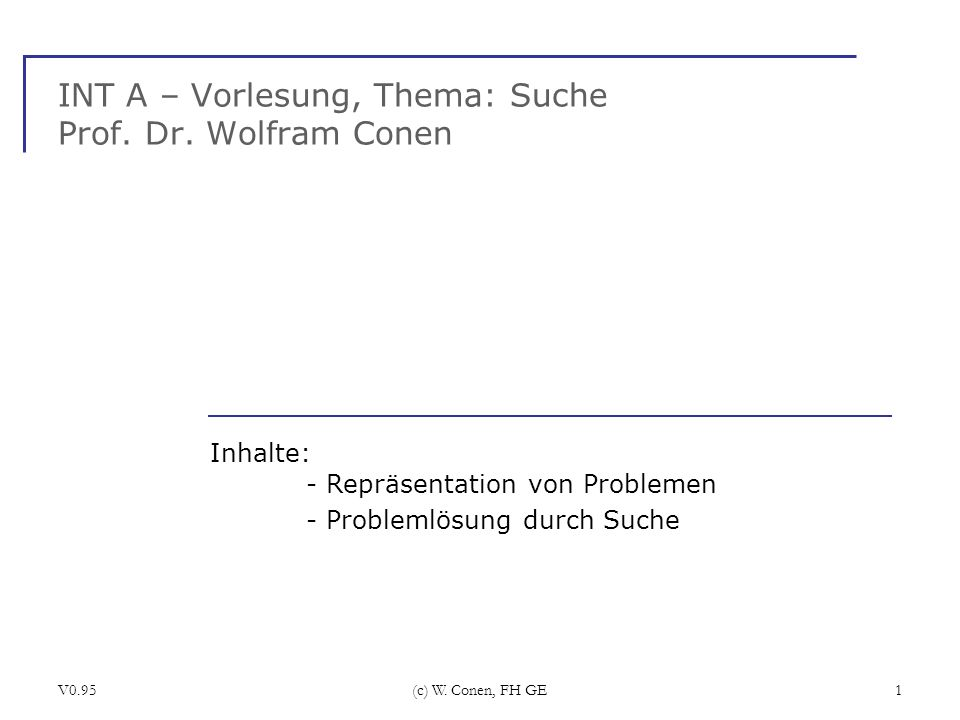 INT A – Vorlesung, Thema: Suche Prof. Dr. Wolfram Conen