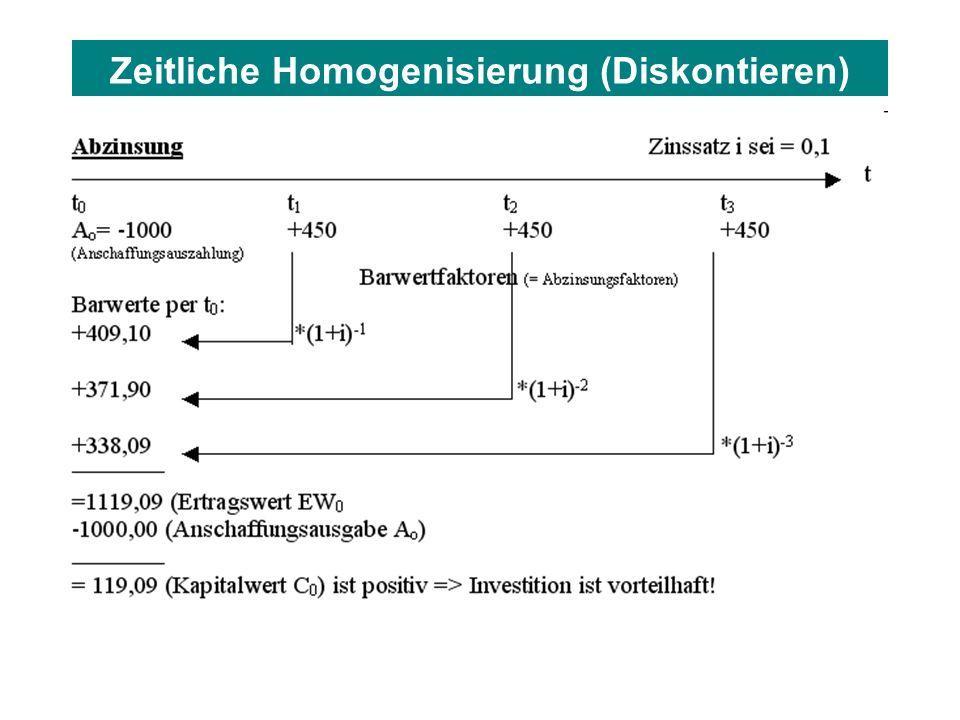 Zeitliche Homogenisierung (Diskontieren)