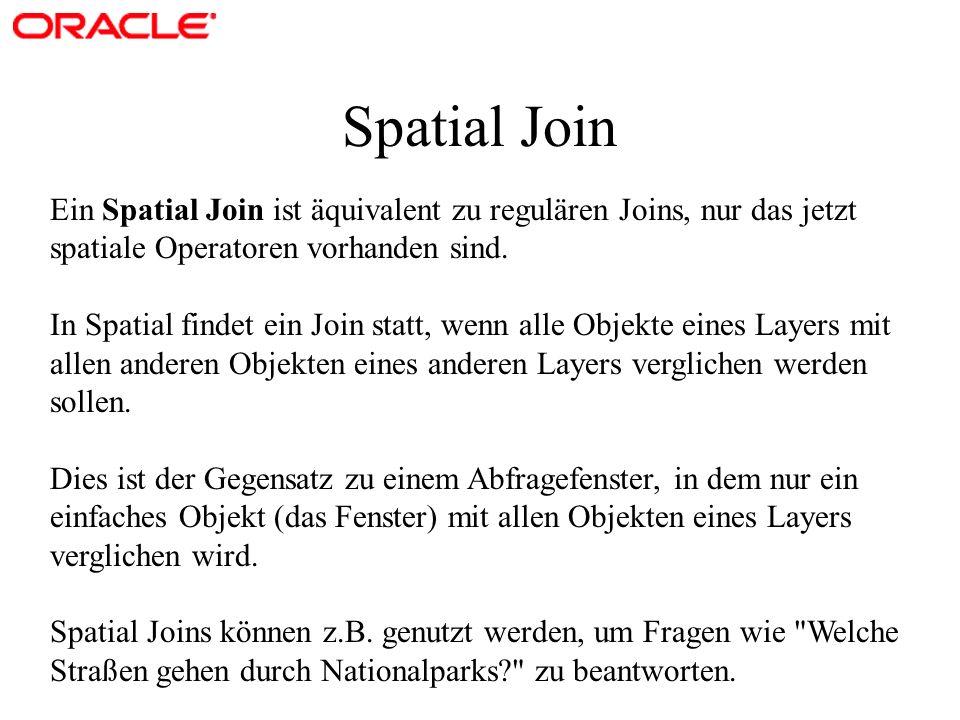 Spatial Join Ein Spatial Join ist äquivalent zu regulären Joins, nur das jetzt spatiale Operatoren vorhanden sind.