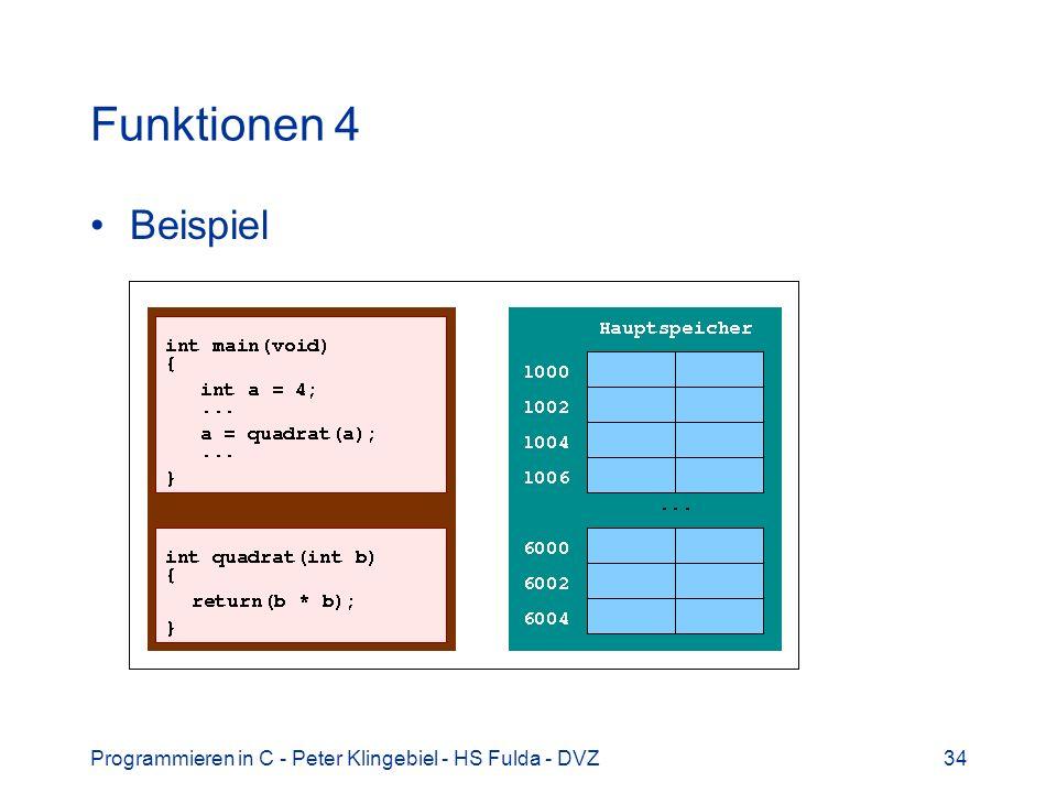 Funktionen 4 Beispiel Programmieren in C - Peter Klingebiel - HS Fulda - DVZ