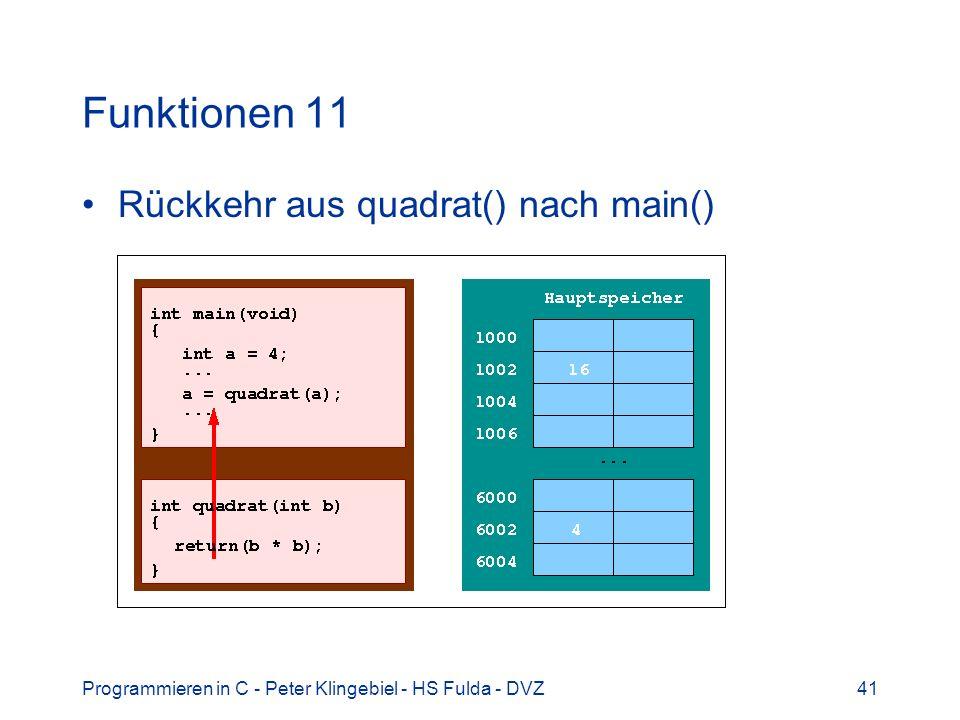 Funktionen 11 Rückkehr aus quadrat() nach main()