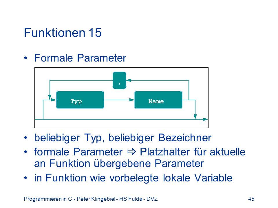 Funktionen 15 Formale Parameter beliebiger Typ, beliebiger Bezeichner