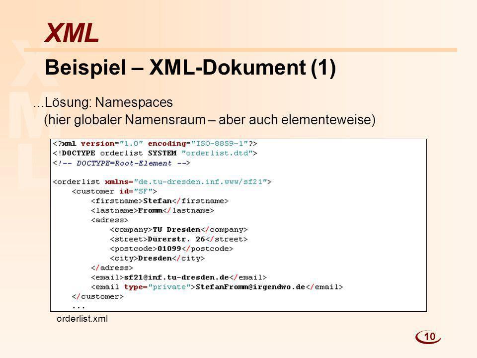 Beispiel – XML-Dokument (1)
