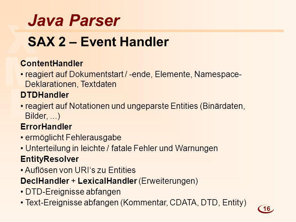 X M L Java Parser SAX 2 – Event Handler ContentHandler