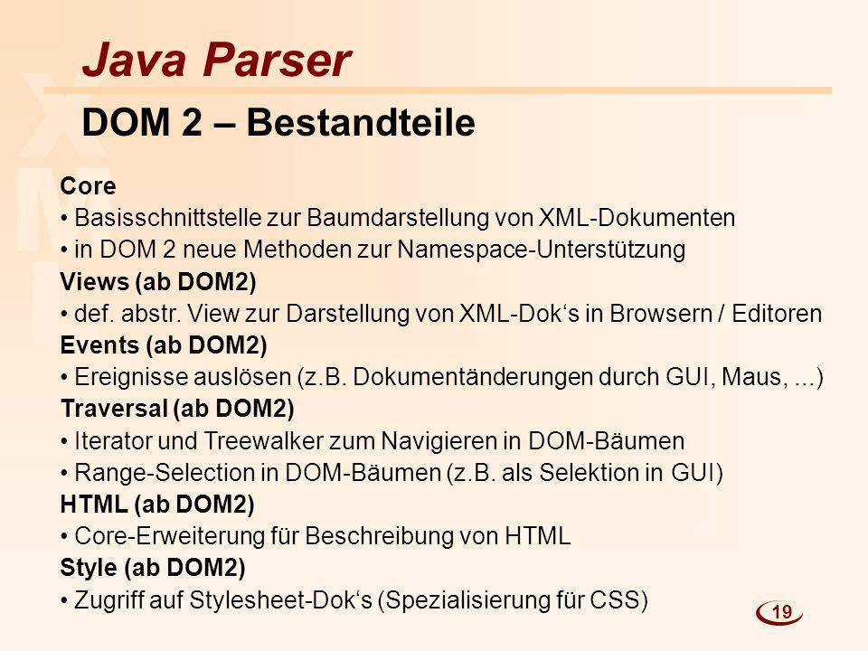 X M L Java Parser DOM 2 – Bestandteile Core