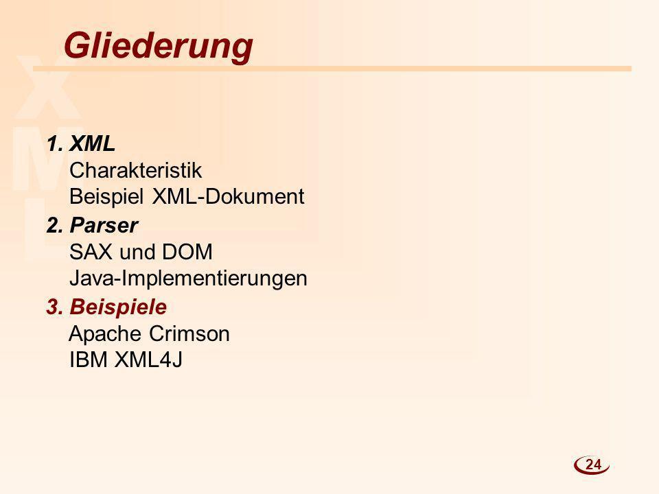 X M L Gliederung 1. XML Charakteristik Beispiel XML-Dokument
