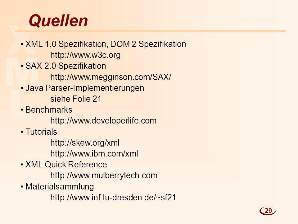 X M L Quellen XML 1.0 Spezifikation, DOM 2 Spezifikation