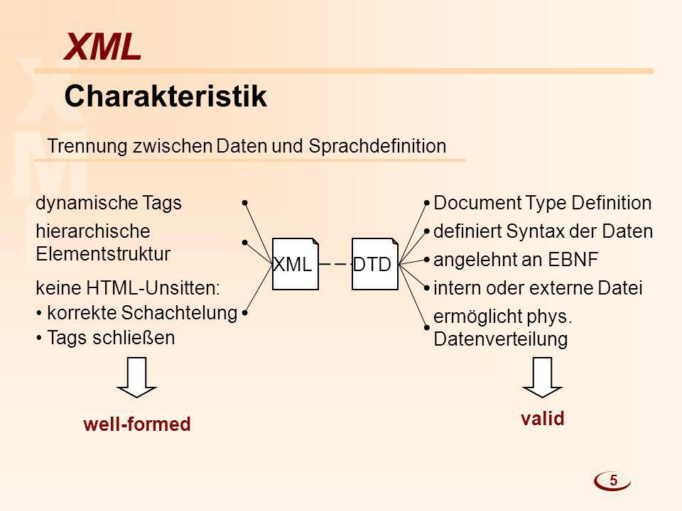 X M L XML Charakteristik Trennung zwischen Daten und Sprachdefinition