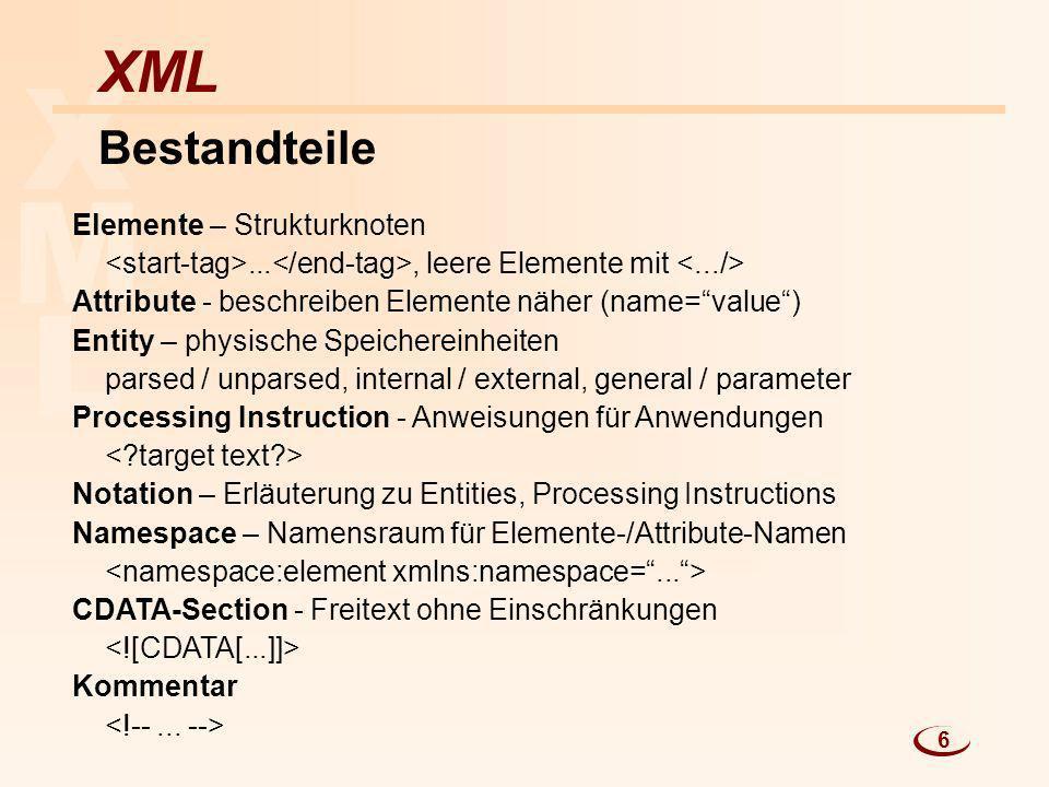 X M L XML Bestandteile Elemente – Strukturknoten